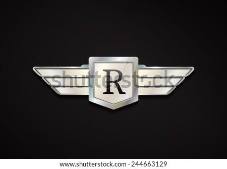 Chrome Emblem Wings 3 D Car Vector Stock Vector Royalty Free