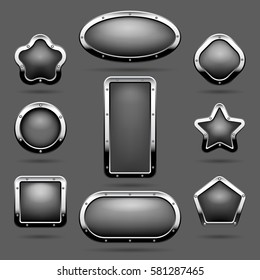 Chrome frames or metal panel buttons with frames vector illustration. , Panel steel in form oval and star illustration