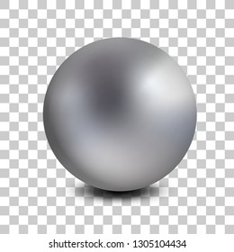 Chrome matt metal ball realistic isolated. Spherical 3D orb. Jewelry gemstone. Vector Illustration for design