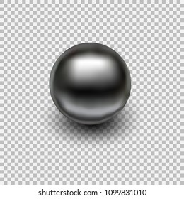 Chrome metal ball realistic isolated on transparent background. Spherical 3D orb with transparent glares and highlights for decoration. Jewelry gemstone. Vector Illustration for your design and busine