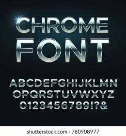 Chrome metal vector font. Steel metallic alphabet letters. Alphabet chrome silver, metal letter illustration
