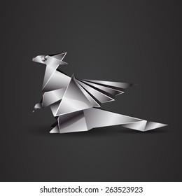 chrome origami dragon