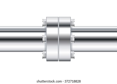 Chrome pipe with flange. Vector illustration isolated on white background