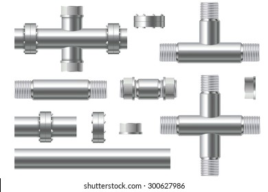 Chrome pipes with flange and screws - vector isolated