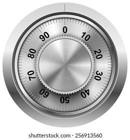 Chrome safe combination lock wheel vector template.