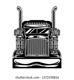 chrome truck front view vector