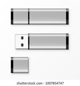 Chrome USB Flash Drive Template For Advertising, Branding And Corporate Identity. EPS10 Vector