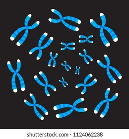 Chromosomes  on black background. Vector illustration