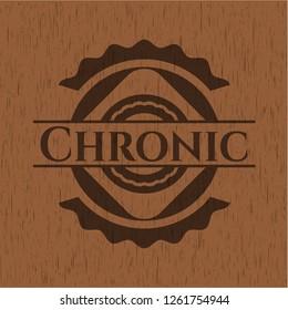 Chronic retro style wooden emblem
