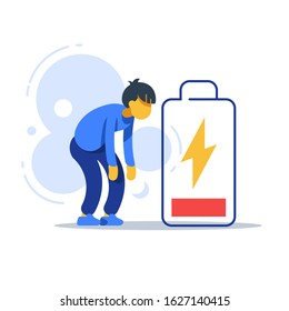 Chronic tired man, exhausted person, male character feeling weak, low energy state, physical or emotional burnout, mental fatigue, bad health symptom, permanently depressed or drained concept