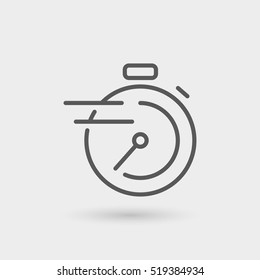 chronometer, fast service thin line icon, black color, isolated
