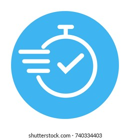 chronometer, fast service thin line icon, blue and white color, isolated