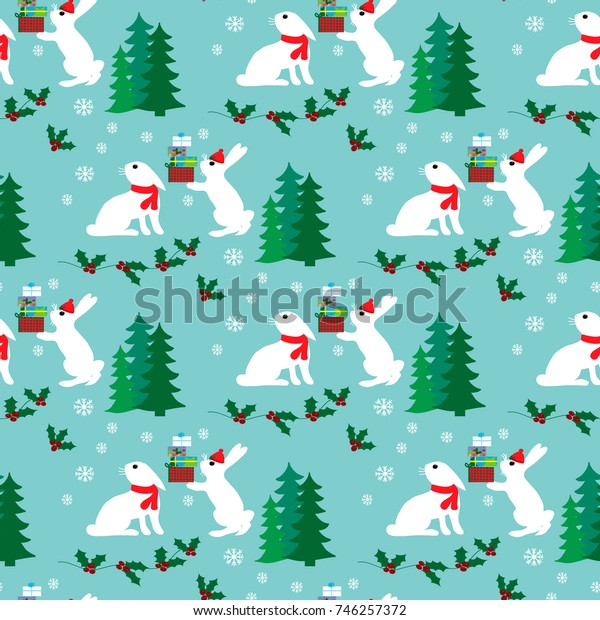 Chrsitmas seamless pattern with funny hares and gifts
