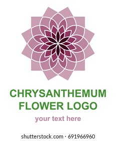 Chrysanthemum flower logotype template. Floral mandala logo concept for a spa, wellness center, massage or beauty salon. Vector design element isolated on white background.