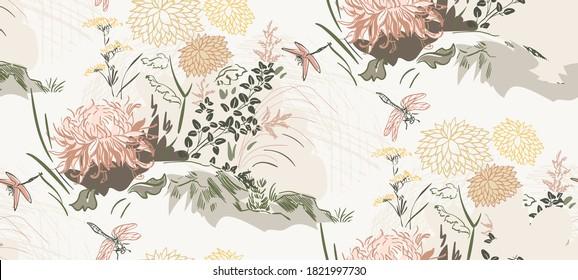 chrysanthemum flowers nature landscape view vector sketch illustration japanese chinese oriental line art ink seamless