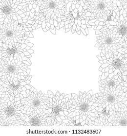 Chrysanthemum Outline Border isolated on White Background. Vector Illustration.