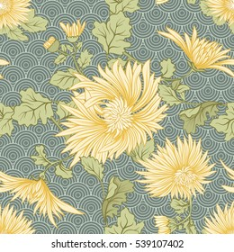 Chrysanthemum. Seamless pattern of yellow Japanese chrysanthemums. On a background with traditional Japanese pattern. Stock vector.