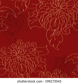 chrysanthemum tile pattern in traditional style