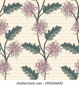 Chrysanthemum Trailing Branches Vector Seamless Pattern