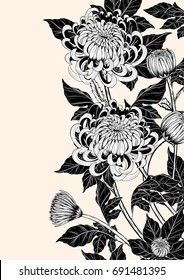 Chrysanthemum vector on brown background.Chrysanthemum vintage by hand drawing.Floral tattoo highly detailed in line art style.Flower tattoo black and white concept.