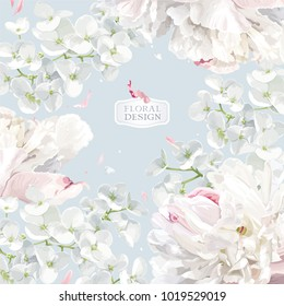 Chrysanthemums and Apple blossom floral composition.  Flower vector background  in watercolor style for greeting card, wedding invitations, decoration, posters, banners, sales