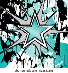 Chrysoprase colored rock n roll grunge star vector background