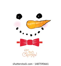 Chtistmas greeting card with cute snowman in red bow tie in minimalist style.