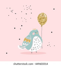 chubby bird with gold balloon