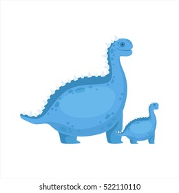 Chubby Blue Iguanodon Dinosaur Prehistoric Monster Couple Of Similar Specimen Big And Small Cartoon Vector Illustration