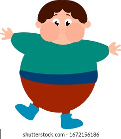 Chubby boy, illustration, vector on white background.