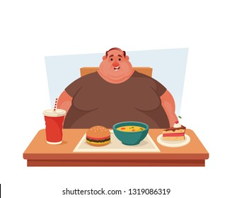 Chubby Character Sitting at the Table with a Lot of Tasty Food. Cartoon Stye. Vector Illustration