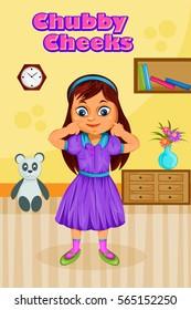 Chubby Cheeks, Kids English Nursery Rhymes book illustration in vector