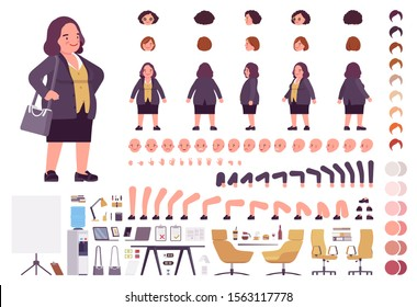 Chubby heavy kind businesswoman with round belly construction set. Overweight, plus size formal wear, fat body shape creation elements to build own design. Cartoon flat style infographic illustration