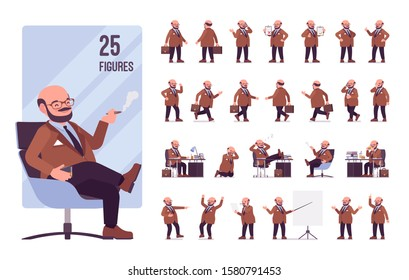 Chubby heavy man with a belly character set. Overweight and fat body shape, middle aged bold guy. Big men fashion, plus size formal wear. Full length, different views, gestures, emotions and poses