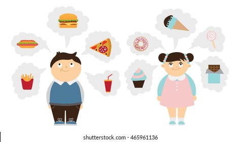 Chubby kids dreaming set. Fat smiling boy and girl dream of fast food, unhealthy sweets. Children obesity.