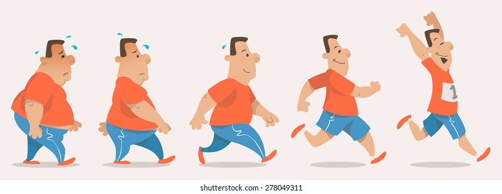 Chubby man turning into athlete