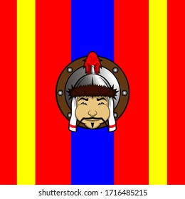 Chubby Warriors - Mongolian Head Edition with Flag Background.