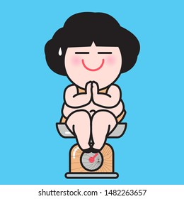Chubby Woman Sitting In Prayer Position While Mediating And Keeping Calm On Broken Weighting Scale Concept Card Character illustration