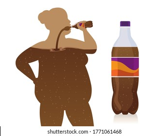 Chubby women drink soft drinks from bottle flow into the body with carbonated drinks bottle. Concept Illustration about an unhealthy lifestyle with artificial sweeteners of fizzy drinks.