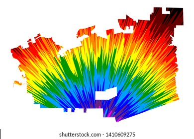 Chula Vista city (United States of America, USA, U.S., US, United States cities, usa city)- map is designed rainbow abstract colorful pattern, City of Chula Vista map made of color explosion,