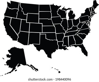A chunky, cartoon map of the USA including Alaska and Hawaii.