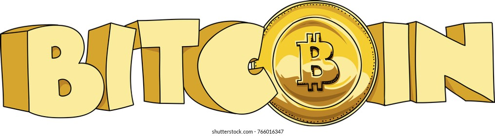 Chunky cartoon text of the word bitcoin that includes a bitcoin coin with the bitcoin symbol.