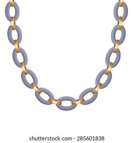 Chunky chain golden and silver metallic necklace or bracelet. Personal fashion accessory design.