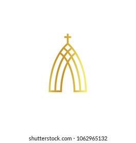 Church abstract minimalistic golden logo on white background. Outline religion vector logotype. Christian faith symbol.