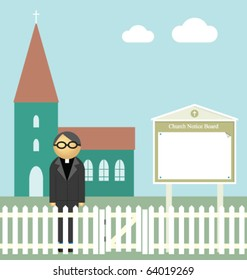Church with blank notice board for own text or graphics