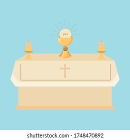 church with body Christ and candles cartoon. vector illustration