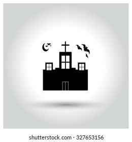Church Building with Bats Flying. Halloween pictogram elements collection.  simple minimal, flat, solid, mono, monochrome, plain, contemporary style. Vector illustration web internet design elements