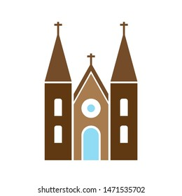 church building icon. flat illustration of church building - vector icon. church building sign symbol