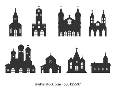 church building icon.set vector of christian religion church silhouette sign and symbol.
