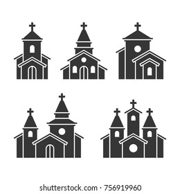 Church Building Icons Set on White Background. Vector